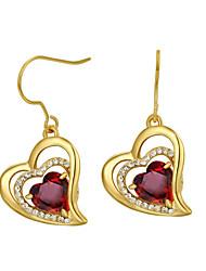 abordables -Pendientes Set Cristal Zirconio Legierung Forma de Corazón Naranja Rojo Joyas Boda Fiesta Diario Casual 1 par