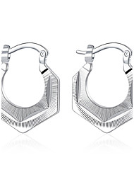 cheap -lureme®Fashion Style 925 Sterling Silver Geometry Shaped Hoop Earrings