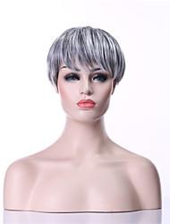 economico -Parrucche sintetiche Liscio Capelli sintetici 10 pollice Grigio Parrucca Per donna Corto Senza tappo Grigio