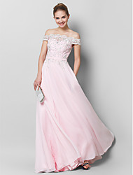 cheap -A-Line Off-the-shoulder Floor Length Chiffon Prom Formal Evening Dress with Appliques by TS Couture®