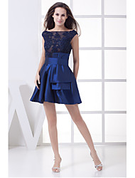 A-Line Fit & Flare Scoop Neck Short / Mini Satin Cocktail Party Dress with Beading Appliques Sash / Ribbon by XFLS