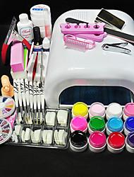 cheap -12 Colors UV GEL & 36W White Lamp Nail Art Tools Sets Kits