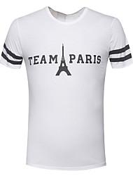 cheap -Men's Daily Sports T-shirt,Print Letter Short Sleeves Cotton
