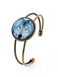 Lureme® Simple Jewelry Time Gem Series Wolf Charm Cuff Bangle Bracelet for Women and Girl