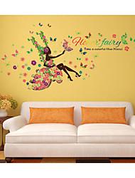 fiore fata forals adesivo muro farfalla decalcomanie bellezza ragazza altalena cita murales