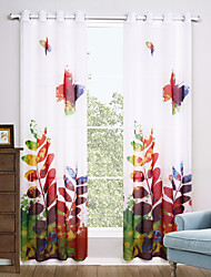 cheap -Grommet Top Two Panels Curtain Modern, Print Living Room Polyester Material Sheer Curtains Shades Home Decoration