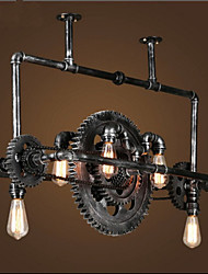 cheap -Iron Pipe Chandelier Industrial Wind gear Hanging Lamp High Quality