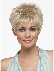 cheap -Pixie Cut Hairstyle Synthetic Wigs Short Hair Straight Blonde Wig with Bangs for Women Perruque Natural