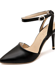 cheap -Women's Girls' Shoes Leatherette Spring Summer Stiletto Heel Buckle Hollow-out for Office & Career Party & Evening Dress White Black Blue