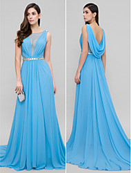 A-Line Scoop Neck Court Train Chiffon Formal Evening Dress with Beading by TS Couture®