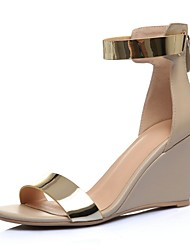 Women's Shoes Leather Wedge Heel Wedges Sandals Wedding / Party & Evening / Dress Black / Almond