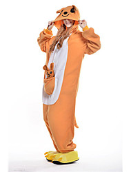 abordables -Pyjamas Kigurumi Kangourou Combinaison de Pyjamas Costume Polaire Orange Cosplay Pour Adulte Pyjamas Animale Dessin animé Halloween Fête