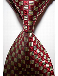 cheap -New Checked Yellow Red JACQUARD WOVEN Men's Tie Necktie #3022