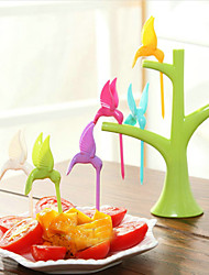 6шт креативная мода hummingbird пластиковые фрукты вилка случайный цвет