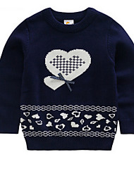 cheap -Girls' Sweater & Cardigan, Cotton Spring Fall Long Sleeves Floral Stripes Navy Blue