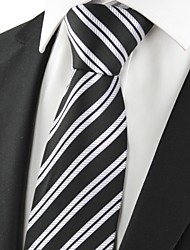cheap -New Striped Grey Black Formal Men's Tie Necktie Wedding Party Holiday Gift #1018