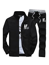 cheap -Men's Daily / Sports / Weekend Active Long Sleeve Slim Activewear Set - Letter Stand