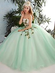 Da ballo Senza bretelline Lungo Organza Tulle Serata formale Vestito con Perline Con applique Fiore (i) Di pizzo Con strass di QZ