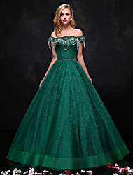 cheap -A-Line Strapless Floor Length Lace Formal Evening Dress with Beading Crystal Detailing Lace by QZ