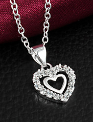 """Noble Sweetheart  Double """"Heart"""" CZ Stone Silver Necklace Pendant For Women"""