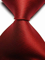 Men's Fashion Red Scarlet Checked JACQUARD WOVEN Necktie Necktie