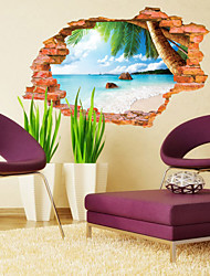 cheap -Landscape Botanical Wall Stickers 3D Wall Stickers Decorative Wall Stickers, PVC Home Decoration Wall Decal Wall