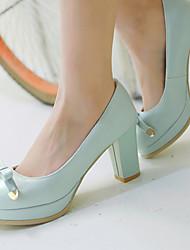 お買い得  -女性用 靴 レザーレット 春 / 夏 チャンキーヒール / プラットフォーム ホワイト / ブルー / ピンク / ドレスシューズ