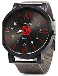 JUBAOLI Men's Fashion Watch Quartz Large Dial Stainless Steel Band Vintage Cool Black