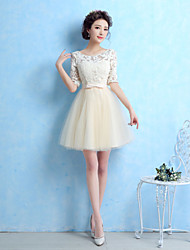 economico -Linea-A Con decorazione gioiello Corto / mini Tulle Vestito da damigella con Fiocco (fiocchi) di LAN TING BRIDE®