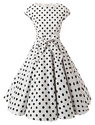 cheap -Women's Going out Vintage A Line Dress,Polka Dot Boat Neck Knee-length Short Sleeves Cotton All Seasons Mid Rise