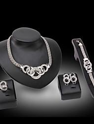 Недорогие -Жен. Синтетический алмаз С кисточками Комплект ювелирных изделий - Стразы, Серебрянное покрытие Массивный, Дамы, Винтаж, Для вечеринки, Кольцеобразный, Плетеный Включают Регулируемое кольцо / кольца