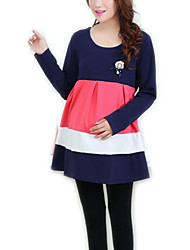 Hot Sale High Quality Round Neck Ruffle Maternity Dress,Cotton / Polyester Mini Long Sleeve