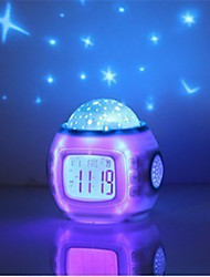abordables -1pc Reloj despertador musical Sky Projector NightLight Colorido Pilas AAA alimentadas Para Niños Regulable Romántico Lámpara de la