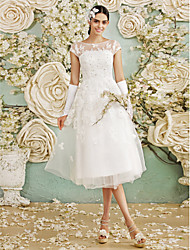 cheap -A-Line Illusion Neckline Tea Length Tulle Wedding Dress with Appliques by LAN TING BRIDE®