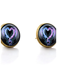 Lureme® Vintage Jewelry Time Gem Series Ssangyong Heart Shaped Antique Bronze Disc Stud Earrings for Women