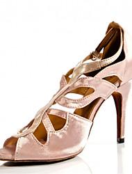 Women's Dance Shoes Latin / Jazz / Swing Shoes / Salsa / Samba Satin Heel Black / Pink / Red Customizable