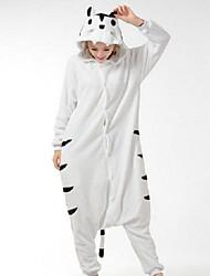 Kigurumi Pyjamas Tiger Kostume Hvid Polarfleece Kigurumi Trikot / Heldragtskostumer Cosplay Festival / Højtider Nattøj Med Dyr Halloween