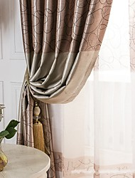 cheap -Grommet Top Pencil Pleat Two Panels Curtain Modern , Print Geometic Living Room Polyester Material Blackout Curtains Drapes Home