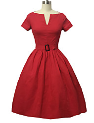 Women's Vintage Swing Dress,Solid V Neck Knee-length Short Sleeve Blue / Red / Black Cotton Fall