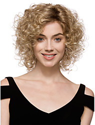 Capless High Quality Pretty Women's Fashion Blonde mix Short Curly Synthetic wigs for women
