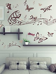 Fashion Music Note Butterfly Wall Sticker, Removable Vinyl Diy Home Decal/Decor