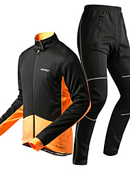 cheap -KORAMAN Men's Long Sleeves Cycling Jacket with Pants - Black Black/Red Black/Yellow Bike Padded Shorts/Chamois Clothing Suits, Thermal /