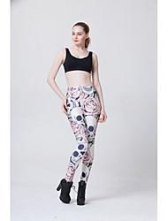 preiswerte -Damen Mittel Elasthan Bedruckt Legging,Weiß