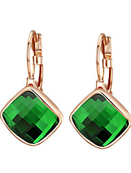 cheap -HKTC Dazzling Cz Jewelry 18k Rose Gold Plated Green Austria Crystal Rhombus Shape Drop Earrings