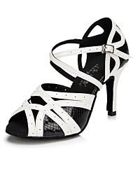 abordables -Femme Latines Modernes Cuir Sandale Entraînement Débutant Professionnel Intérieur Extérieur Spectacle Talon Aiguille Noir et blanc