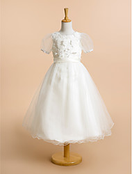cheap -A-Line Tea Length Flower Girl Dress - Lace Tulle Short Sleeves Scoop Neck with Lace Flower by LAN TING BRIDE®