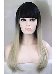 billige -Syntetiske parykker Lige Syntetisk hår Ombre-hår Paryk Dame Lang Lågløs