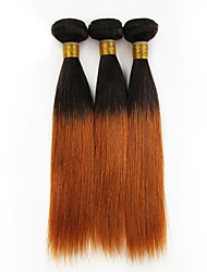 Натуральные волосы Перуанские волосы Человека ткет Волосы Прямые Наращивание волос 3 предмета Черный # 30 Т1В