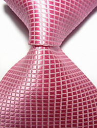 preiswerte -Herren Party / Abend rosa Karo Jacquard gewebt Krawatte Krawatte
