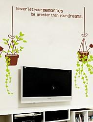 Big Flower Pot Wall Stickersdecal Plants Grass Vinyl Wallpaper Mural Original Home Room Window Door Decor